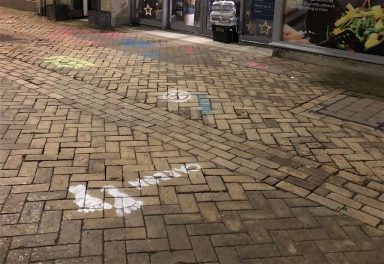 Carbon footprints painted in high street
