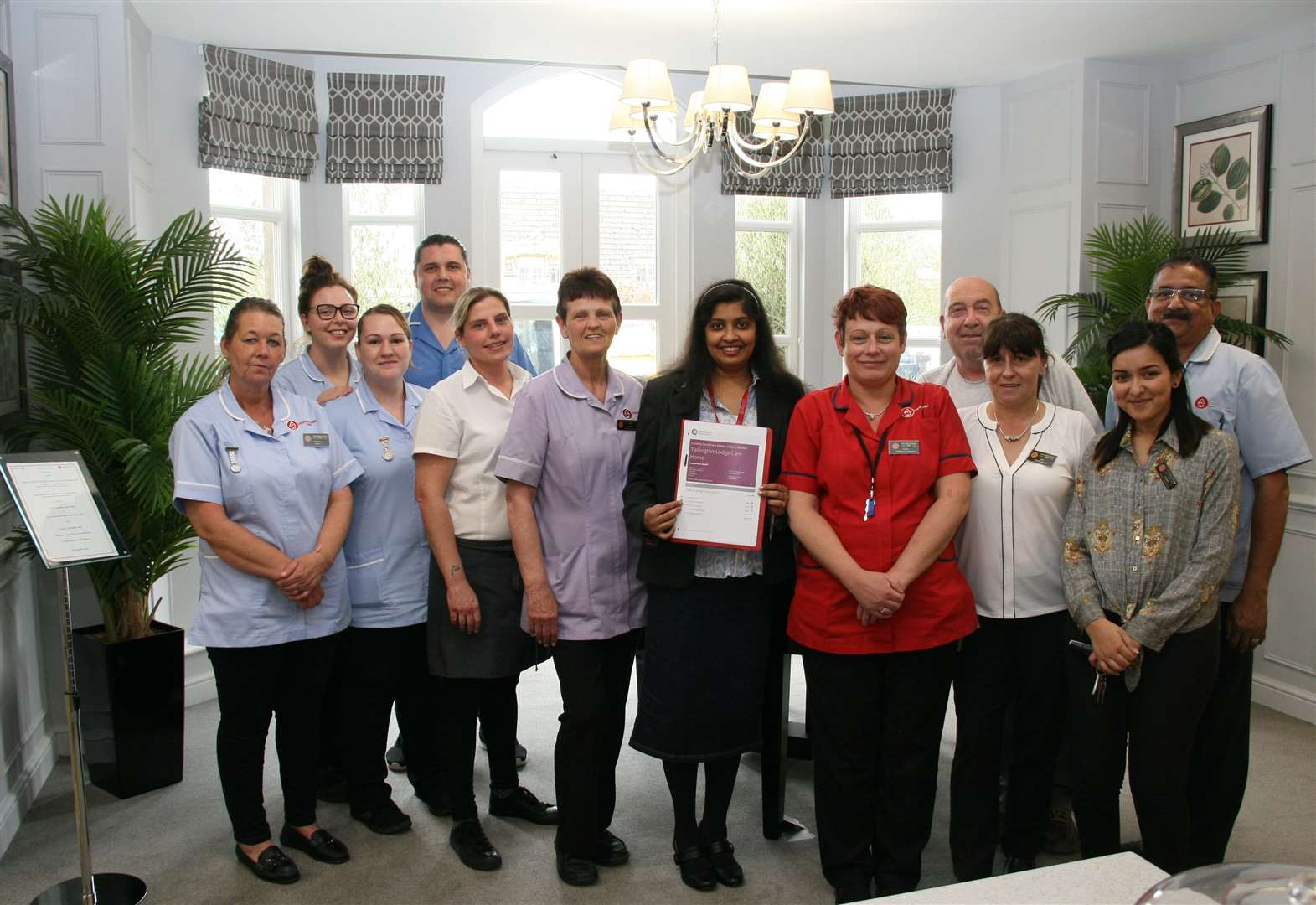 These Tallington Lodge Care Home staff have got cause for celebration.