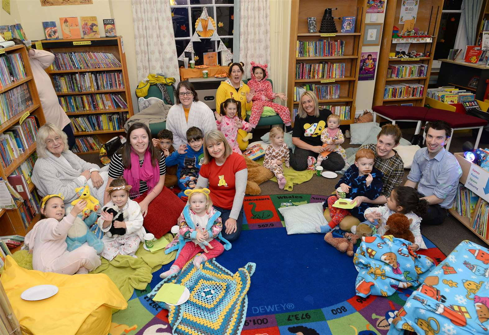 Snuggle for Pudsey storytime held at the Deepings Community Library to raise money for Children in Need